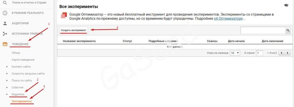 Настройка экспериментов в google analytics через google tag manager
